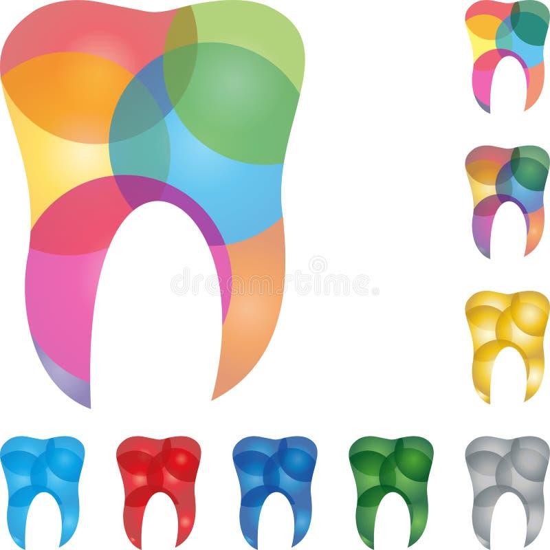 Dente, logotipo do dente e do dentista ilustração royalty free