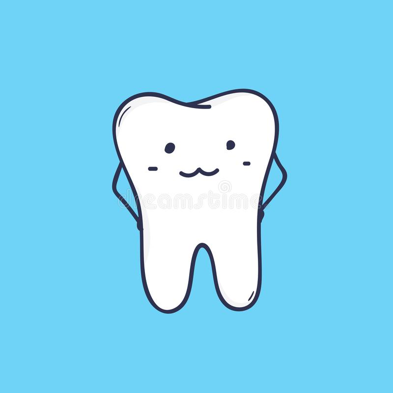 Dente molare sorridente sveglio Mascotte adorabile o simbolo divertente per la clinica dentaria o il centro ortodontico Fumetto i illustrazione di stock