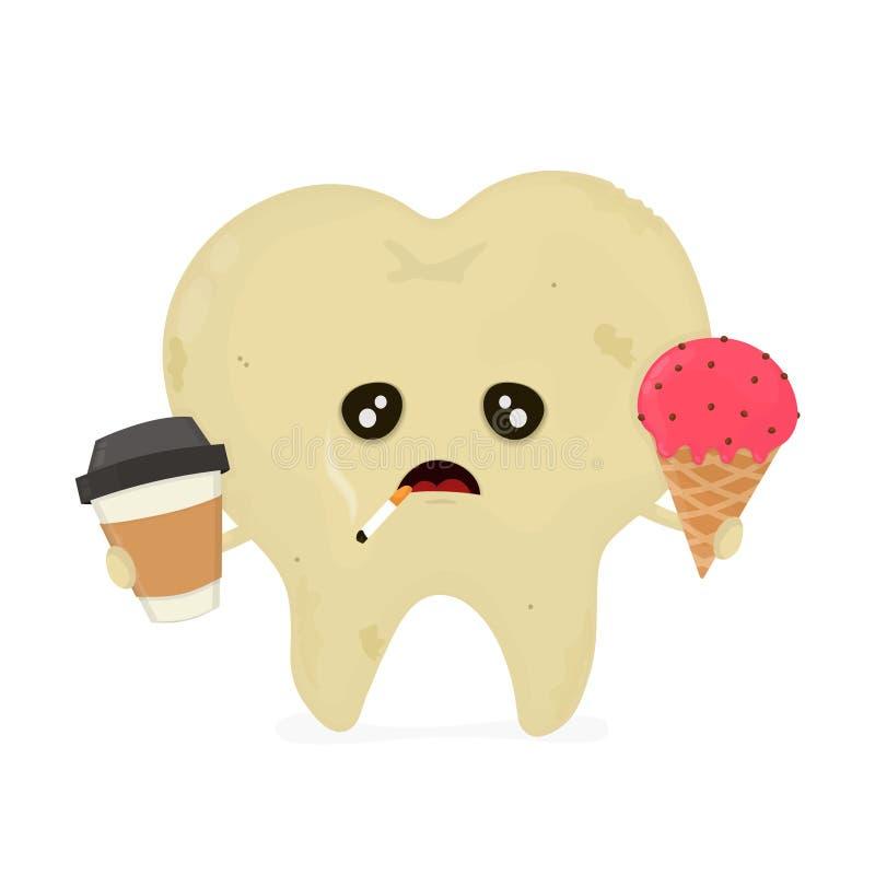 Dente non sano sporco malato triste illustrazione di stock