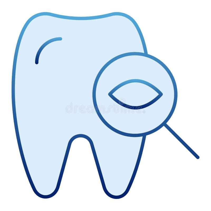 Dente para examinar o ícone liso Ícones azuis do exame dental no estilo liso na moda Projeto dental do estilo do inclinação do co ilustração royalty free