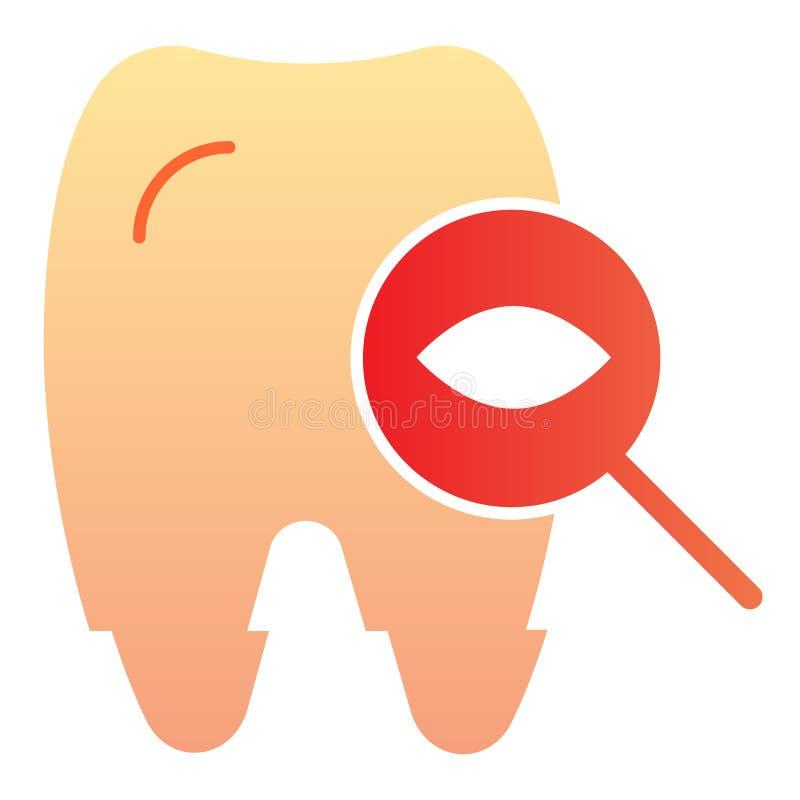 Dente para examinar o ícone liso Ícones da cor do exame dental no estilo liso na moda Projeto dental do estilo do inclinação do c ilustração royalty free