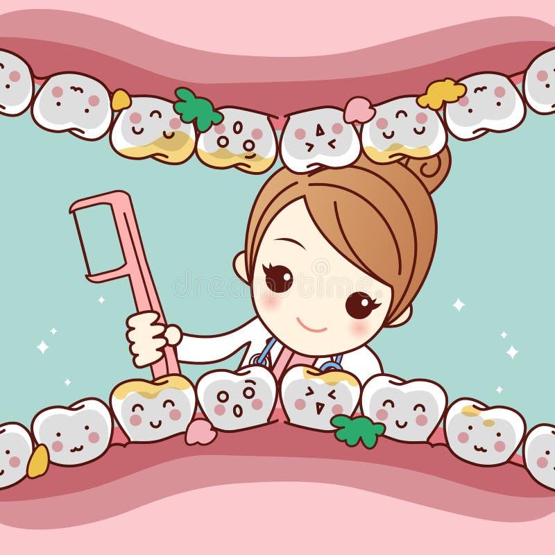 Dente pulito di medico del dentista del fumetto illustrazione di stock