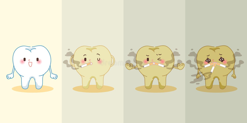 Dente que fuma antes e depois ilustração stock