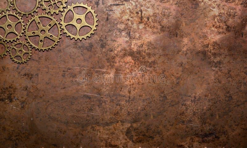 Dente rústico nostálgico do maquinismo de relojoaria do bronze do cobre do fundo das engrenagens imagens de stock