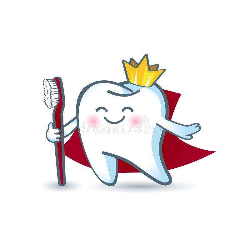 Dente sano del fumetto dell'icona nella corona, tenente uno spazzolino da denti royalty illustrazione gratis