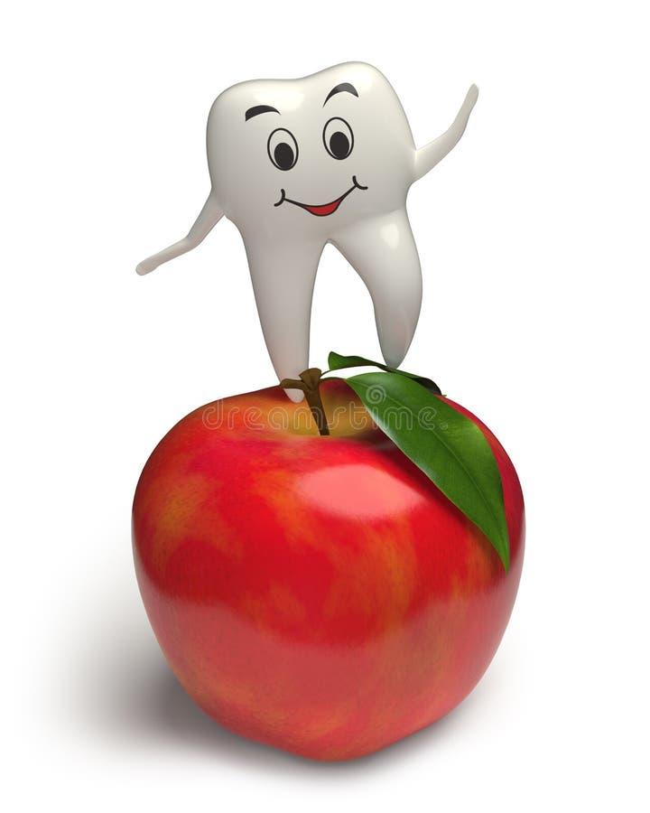 Dente sorridente che salta su una mela rossa - 3d illustrazione di stock