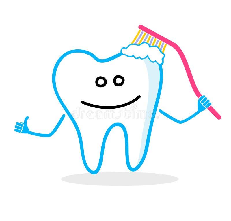 Dente sorridente con lo spazzolino da denti Illustrazione dentale dell'igiene illustrazione di stock