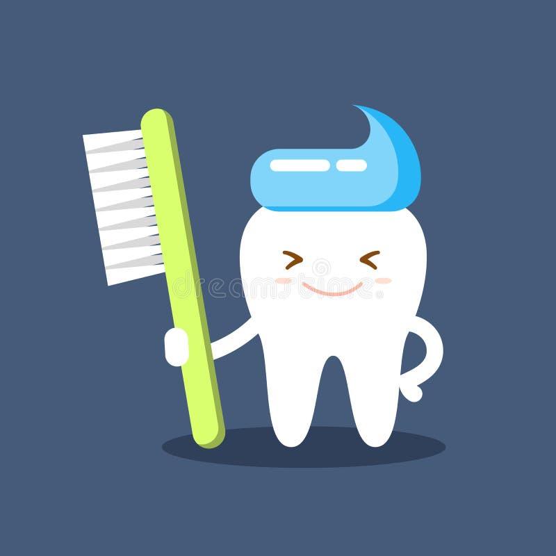 Dente sorridente felice sveglio con l'acconciatura del dentifricio in pasta e dello spazzolino da denti Chiaro concetto del dente royalty illustrazione gratis