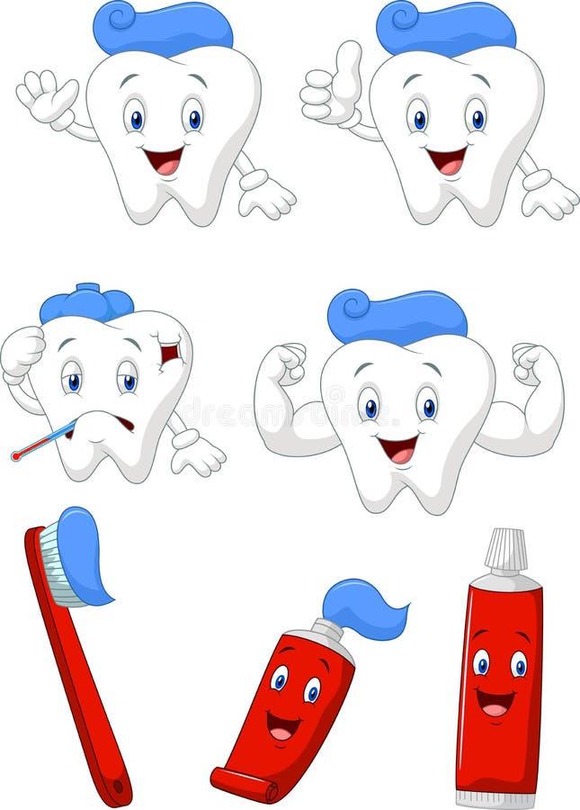 Dente, spazzola e raccolta del personaggio dei cartoni animati del dentifricio royalty illustrazione gratis