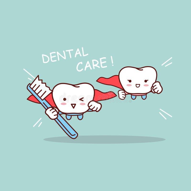 Dente super dos desenhos animados com escova de dentes ilustração do vetor