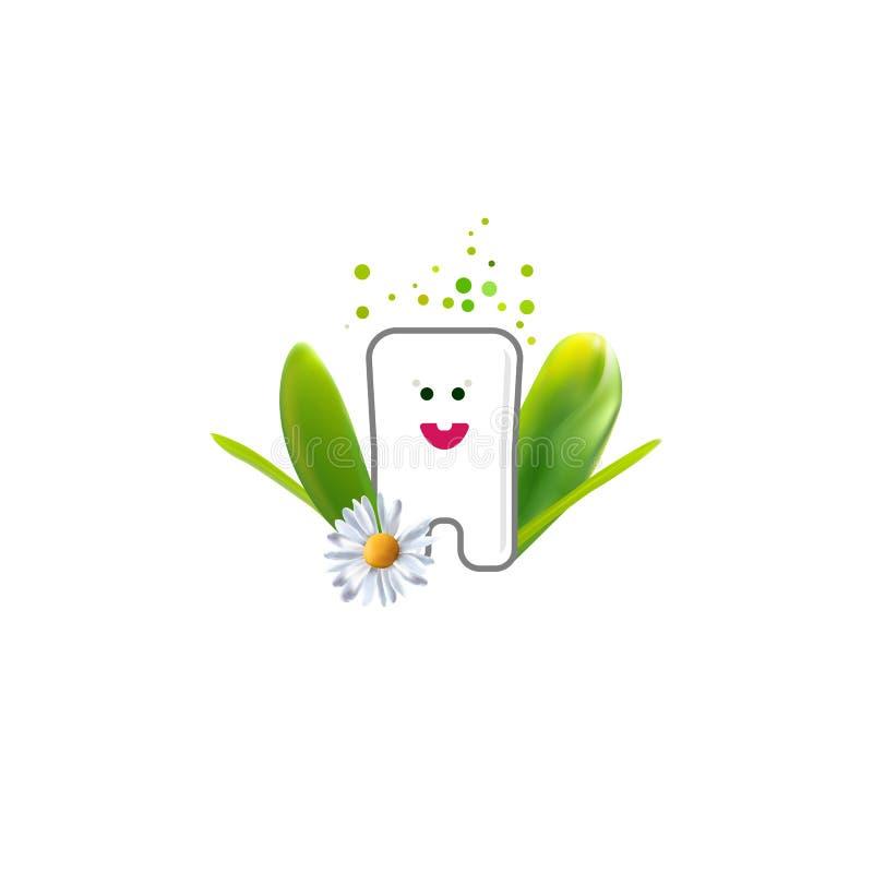 Dente sveglio con le foglie realistiche illustrazione vettoriale