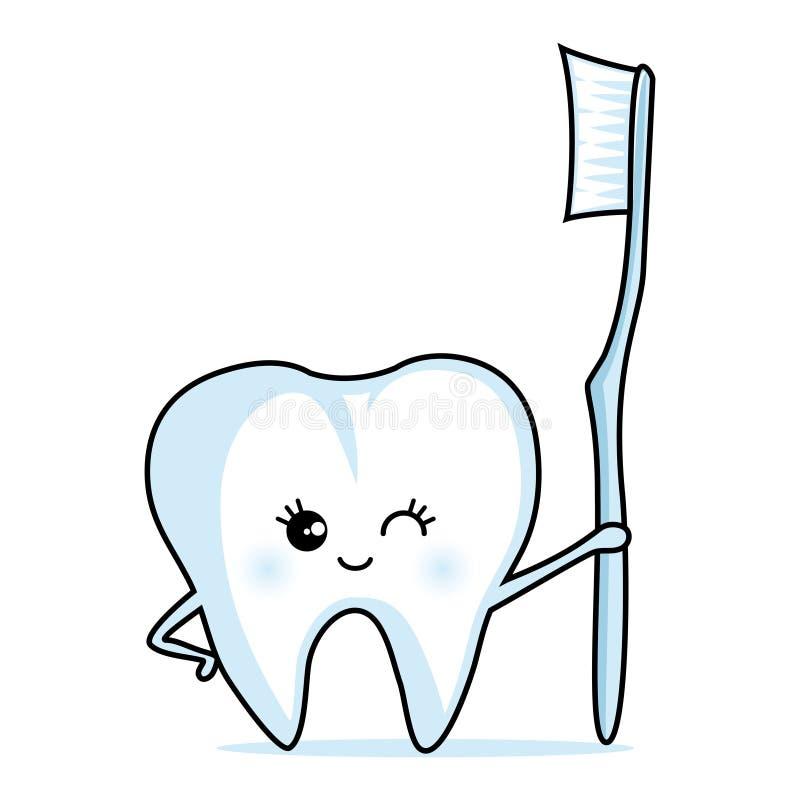 Dente sveglio con uno spazzolino da denti illustrazione vettoriale