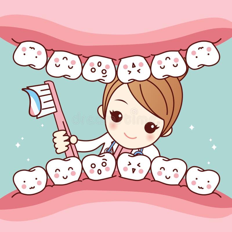 Dente sveglio della spazzola del dentista del fumetto royalty illustrazione gratis