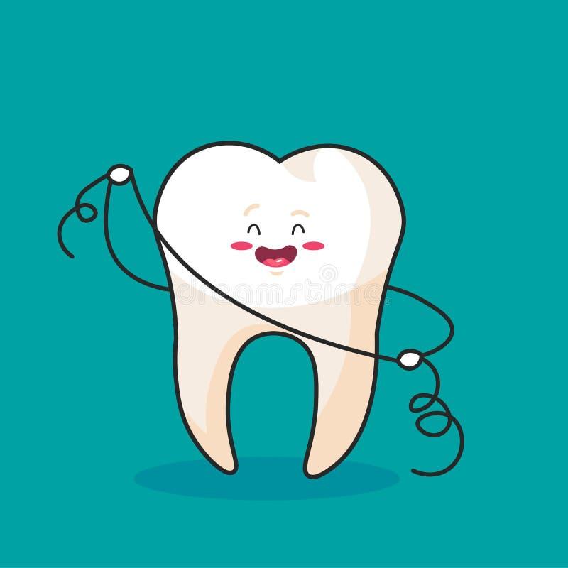 Dente usando o fio dental para os dentes brancos, conceito dental do vetor ilustração do vetor