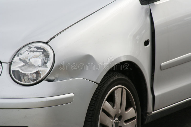 Dented Car Front Wing stock photo