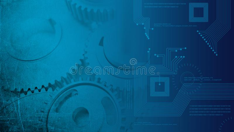 Dented steel grunge glossy gears industrial cogs transitioning to technologic digital circuits stock images
