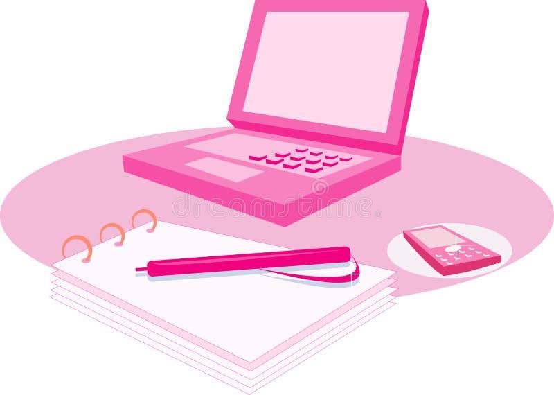 Dentelez l'ordinateur et le bloc-notes illustration de vecteur