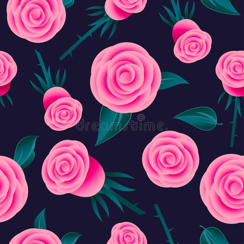 Dentelez la configuration sans joint de roses Fleurs avec des feuilles sur le fond foncé illustration stock