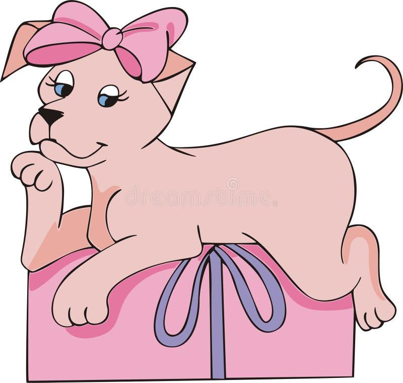 Dentelez le cadeau de chienchien illustration stock
