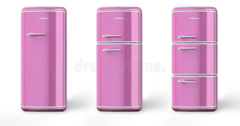 Dentelez un rétro le réfrigérateur illustration libre de droits