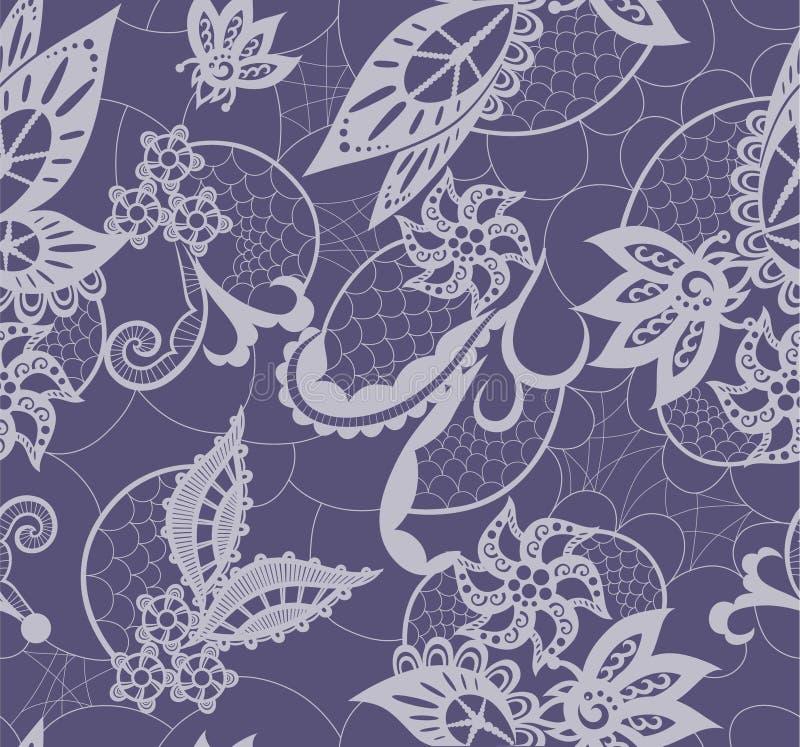Dentelle abstraite avec des éléments des fleurs, des feuilles et du papillon illustration libre de droits