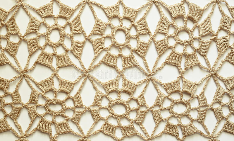 Dentelle beige de crochet photographie stock