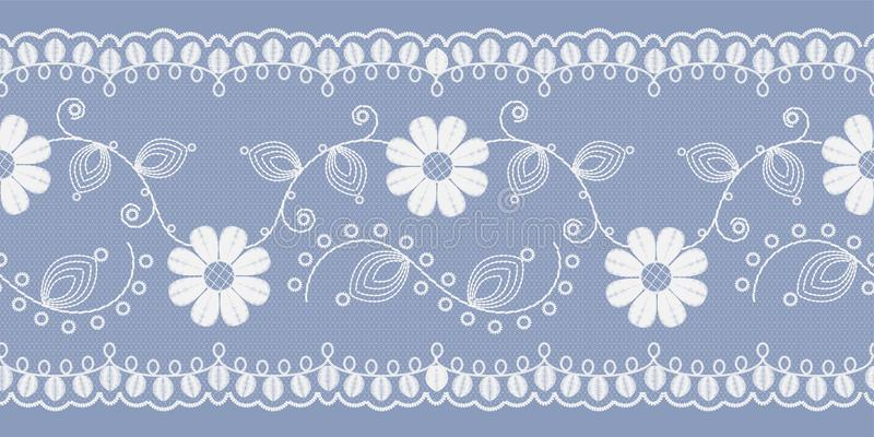 Dentelle florale légère blanche sur un fond bleu Vecteur illustration de vecteur
