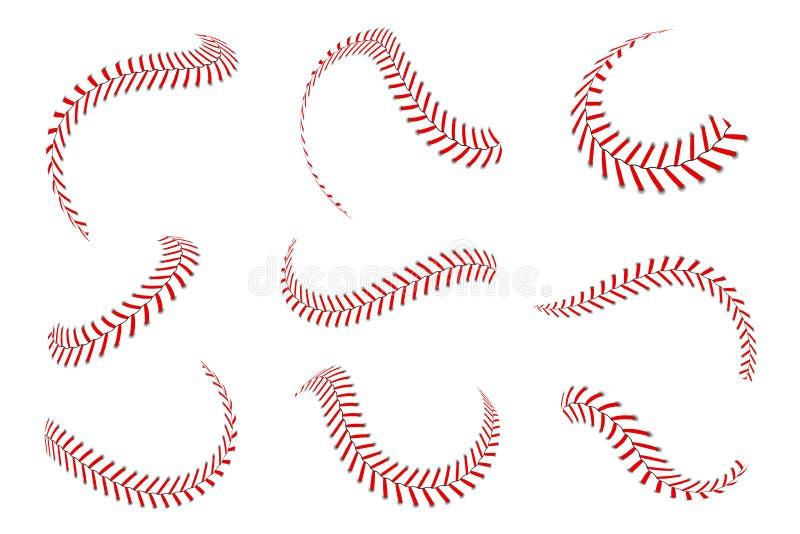 Dentelles de base-ball réglées Points de base-ball avec les fils rouges Éléments graphiques de sports et brosses sans couture illustration de vecteur