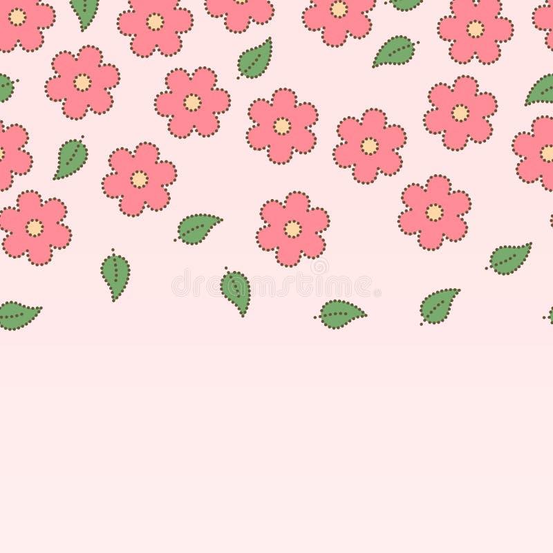 Dentelli i fiori di sakura e le foglie doted il confine senza cuciture, vettore royalty illustrazione gratis