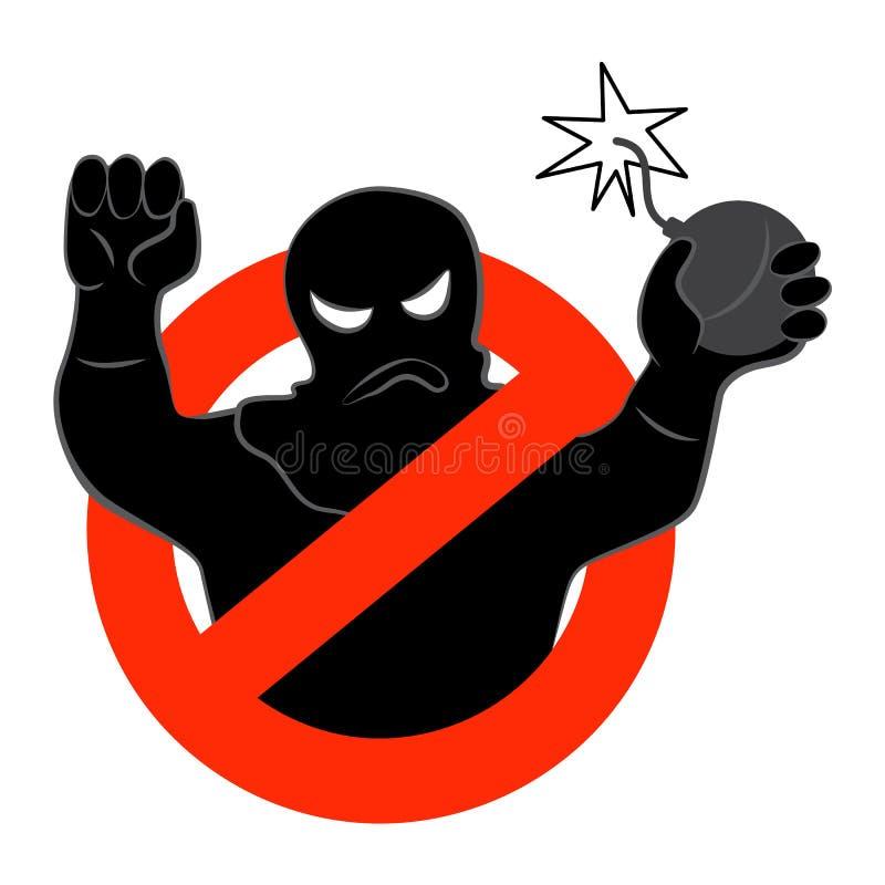 Denterrorist aktionsymbolen Vektorillustration av begreppet för stoppterrorismbakgrund, på en vit bakgrund 10 eps stock illustrationer