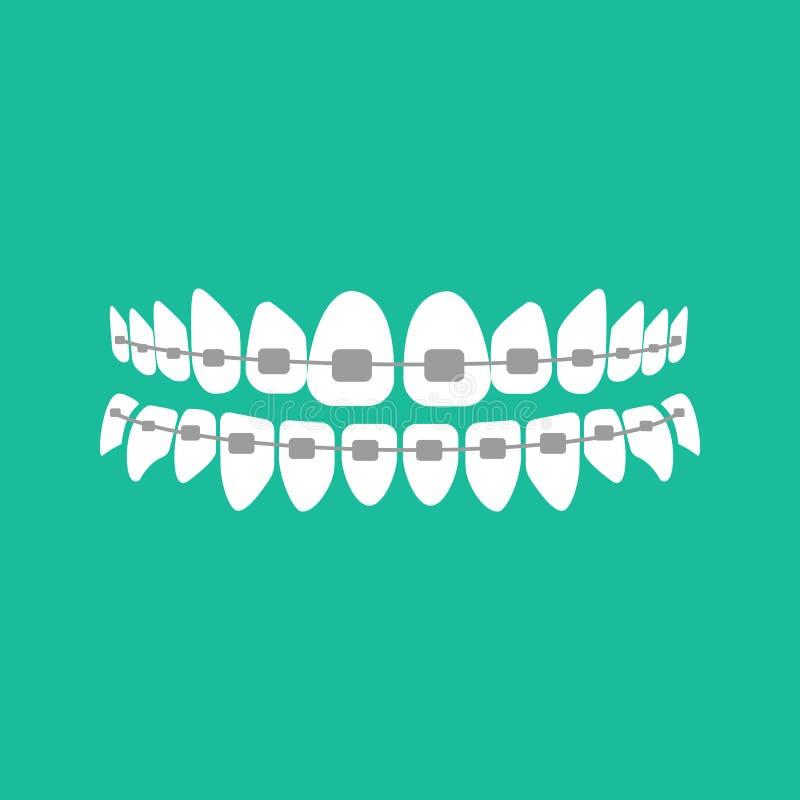 Dentes com cintas ilustração stock