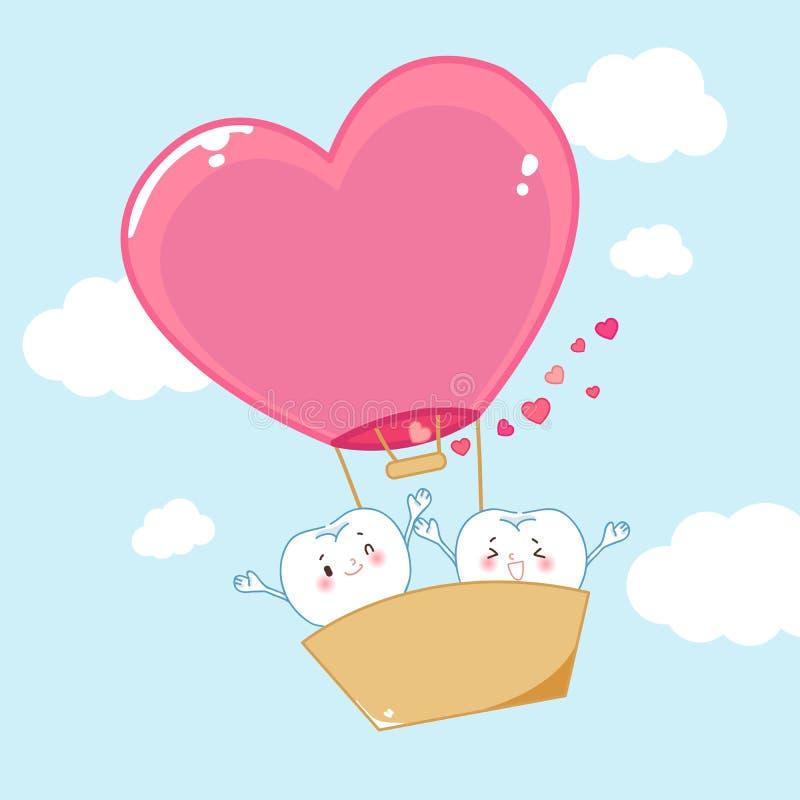 Dentes com o balão de ar quente ilustração royalty free