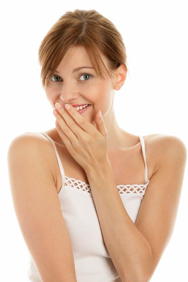 Dentes da coberta da mulher foto de stock