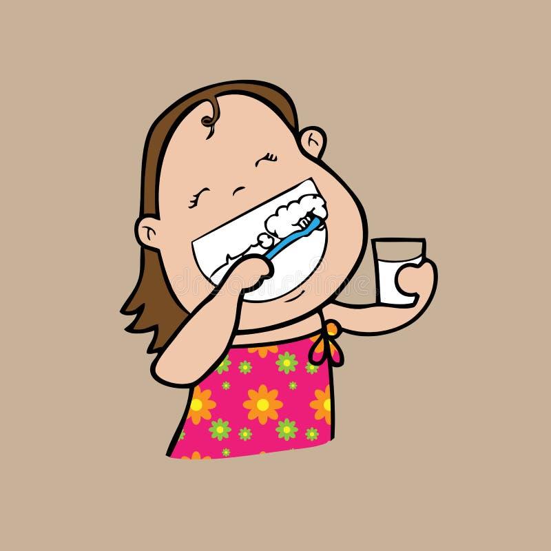 Dentes da escova da menina ilustração do vetor