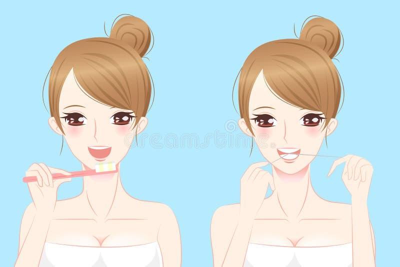 Dentes da escova da mulher da beleza dos desenhos animados ilustração do vetor