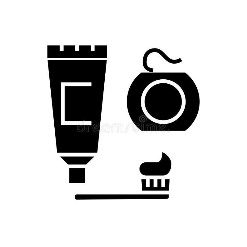 Dentes da limpeza - escova, dentífrico, ícone de fio dental, ilustração do vetor ilustração royalty free