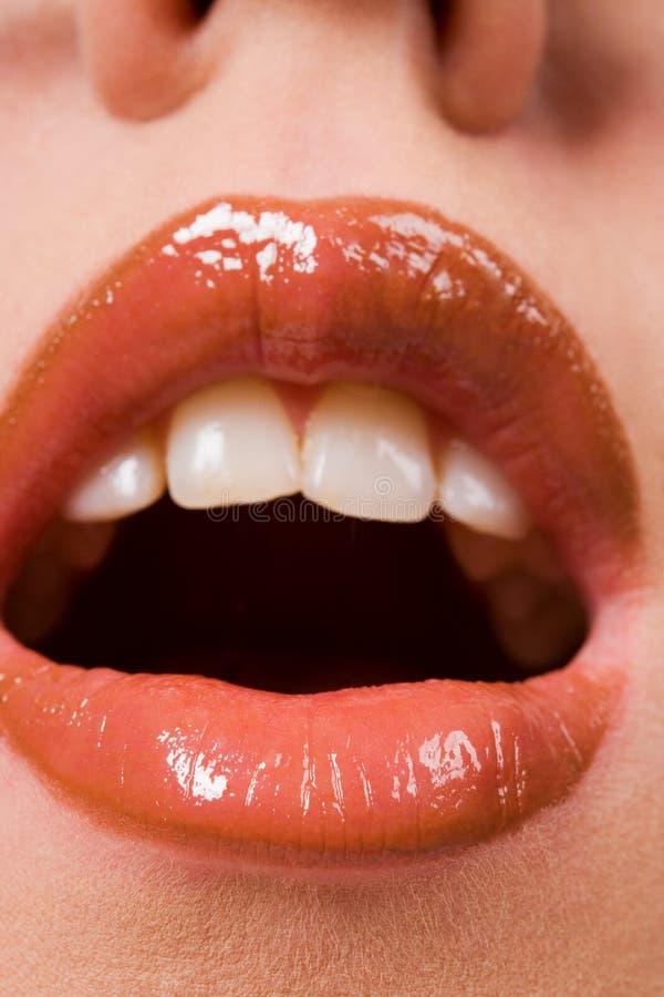 Dentes de escape da mulher bonita foto de stock royalty free