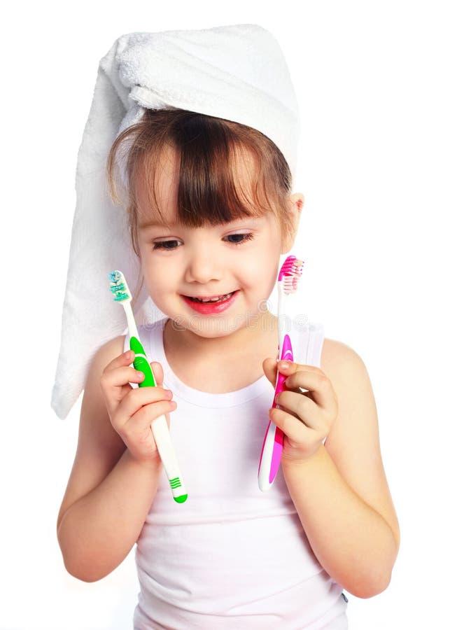 Download Dentes De Escovadela Da Menina Foto de Stock - Imagem de cute, saudável: 12809782