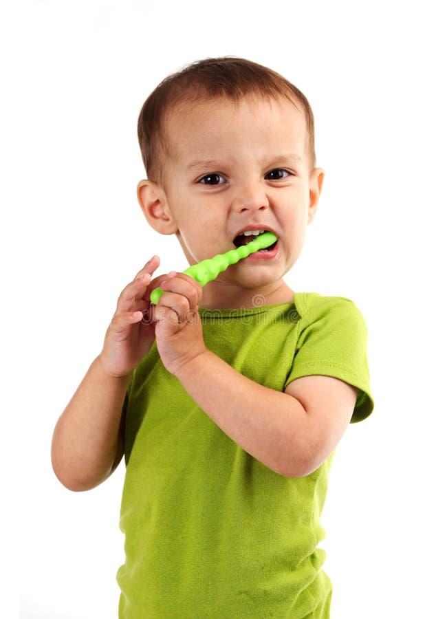 Dentes de escovadela do rapaz pequeno bonito, isolados no branco imagem de stock