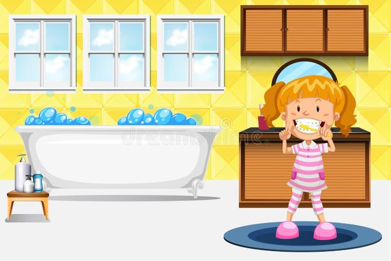 Dentes de escovadela de uma menina ilustração royalty free