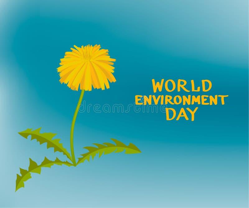 Dentes-de-leão amarelos com conceito verde do dia de ambiente de mundo das folhas fotografia de stock royalty free