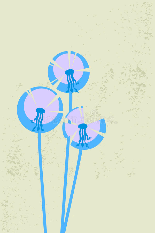 Dentes-de-leão estilizados azuis no vento ilustração do vetor