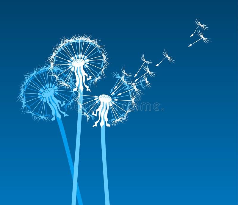 Dentes-de-leão estilizados brancos no vento ilustração royalty free