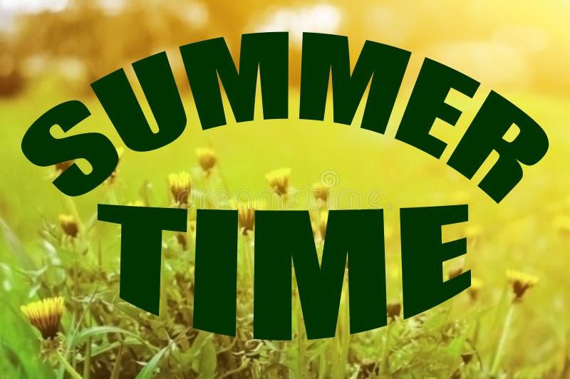 Dentes-de-le?o amarelos de floresc?ncia e grama verde nos raios do sol de ajuste Inscrição 'verão da mola ' Fundo borrado foto de stock royalty free