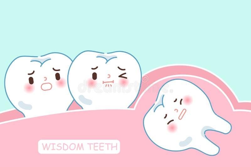 Dentes de sabedoria bonitos dos desenhos animados ilustração stock