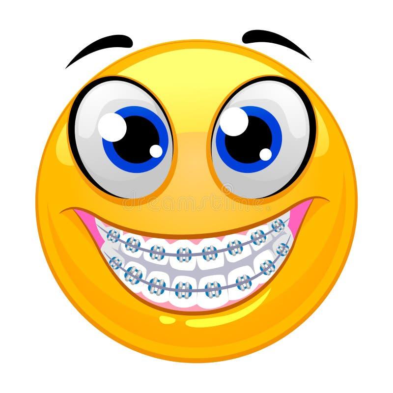 Dentes de Smiley Emoticon Showing com cintas ilustração royalty free