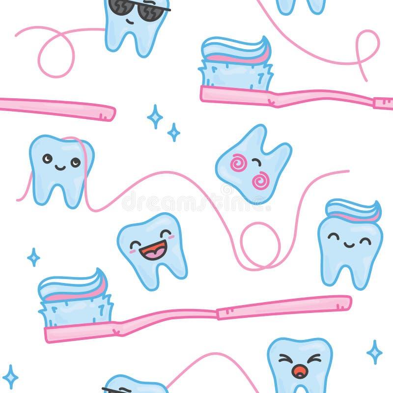 Dentes e teste padrão sem emenda do vetor dos desenhos animados da escova de dentes ilustração stock