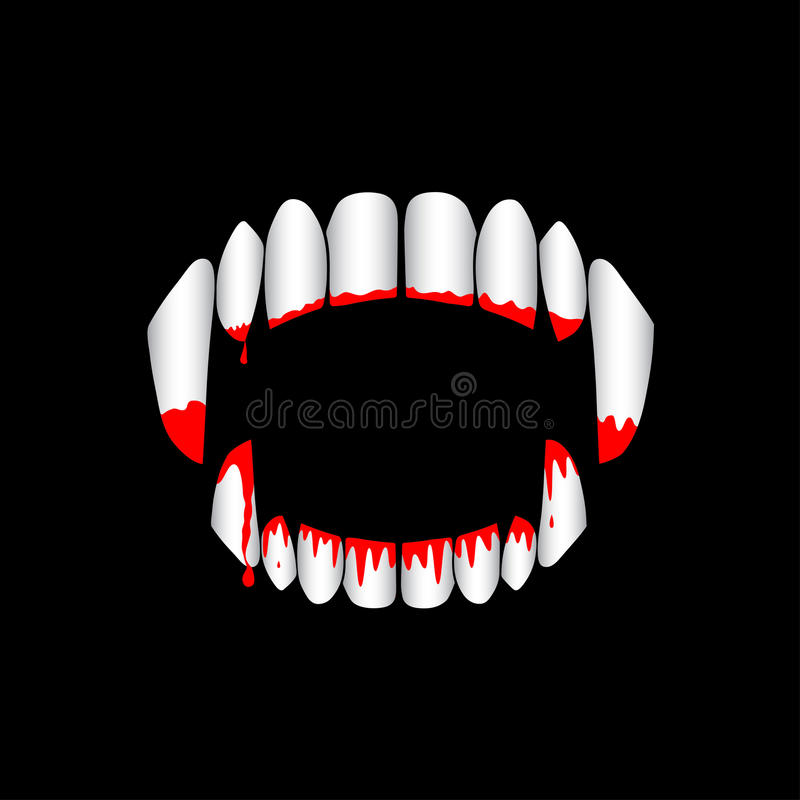 Dentes ensanguentados do vampiro do vetor no fundo preto ilustração royalty free