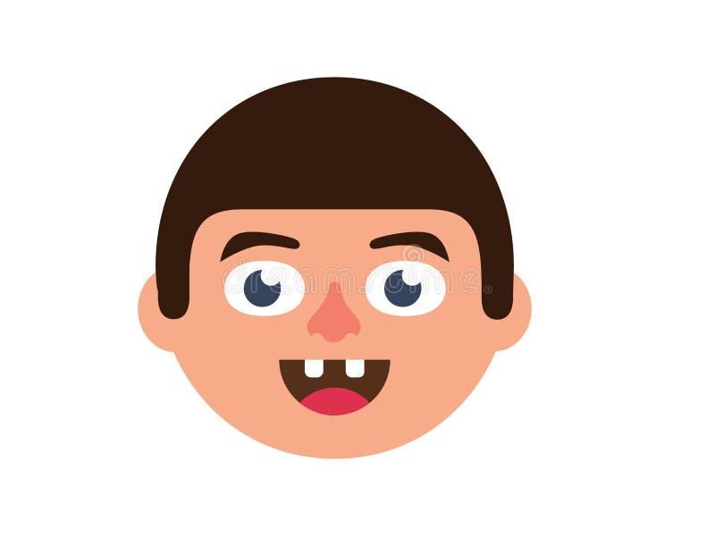 Dentes quebrados do menino do vetor em um fundo cor-de-rosa ilustração stock