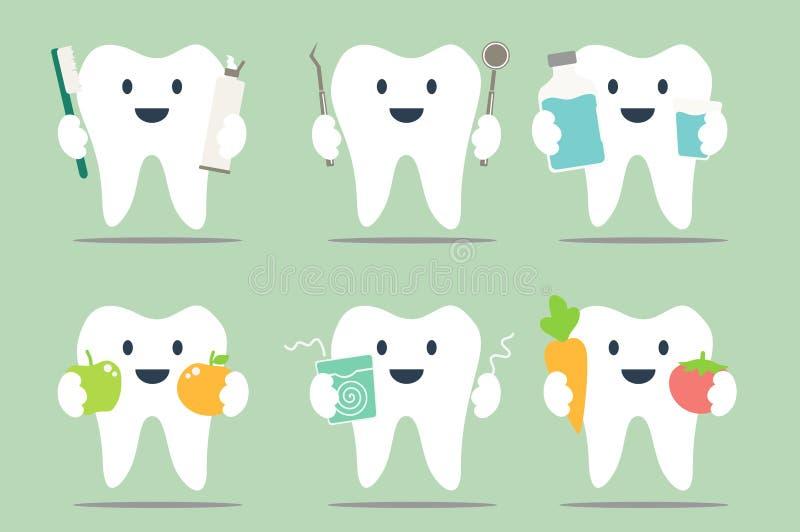 Dentes saudáveis ajustados ilustração stock